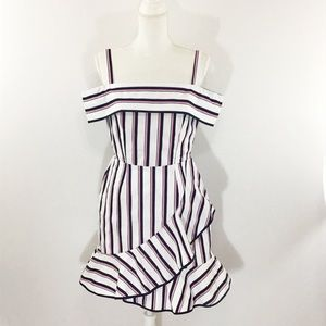 WAYF WHITE FLORENCE OFF SHOULDER STRIPE DRESS NWOT